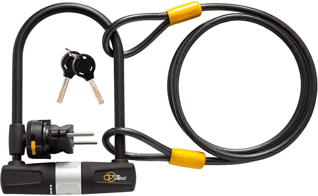 Bike U Lock with Cable Velo Heavy Duty Bicycle
