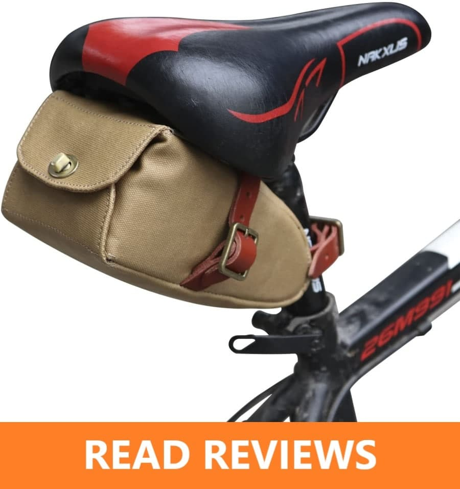 TOURBON Canvas Leather Bike Saddle Bag Bicycle Seat
